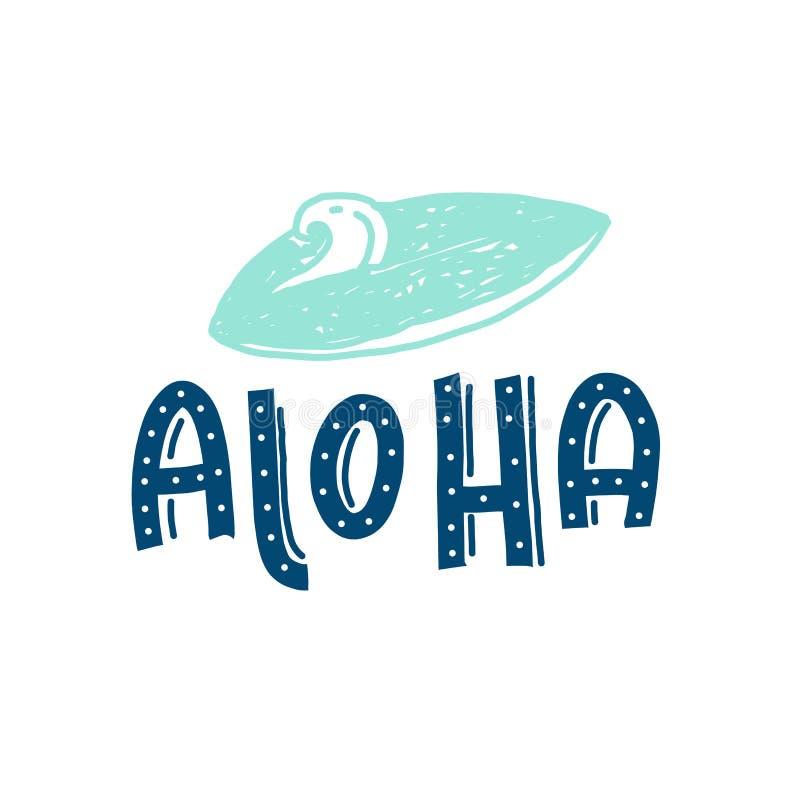 Aloha garnering för bräde för bränning för typograficitationsteckenqith för t-skjortan, väggaffisch vektor illustrationer