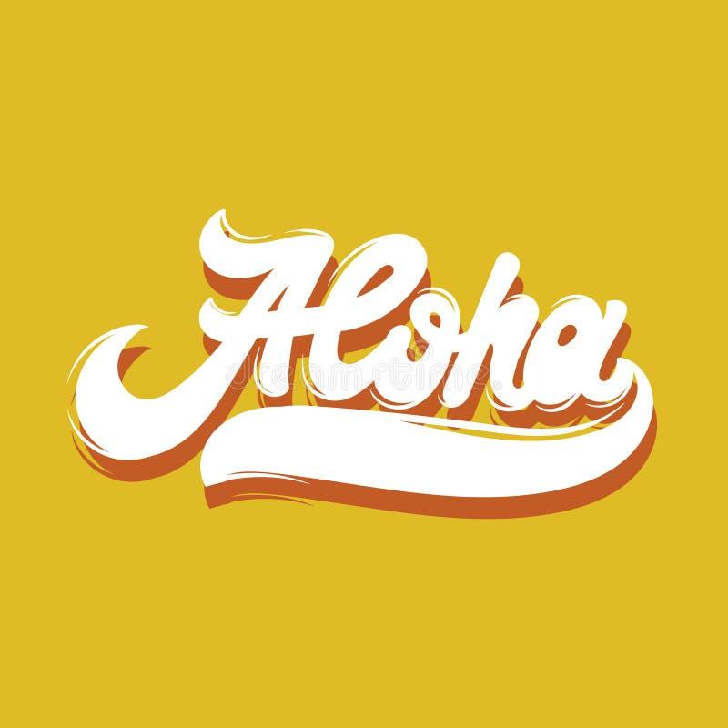 aloha Handgeschriebene Beschriftung des Vektors stock abbildung