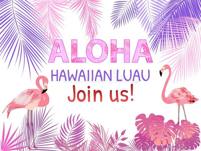aloha Hawa? La meilleure conception rose créative de vecteur pour l'affiche, insecte, présentation illustration libre de droits