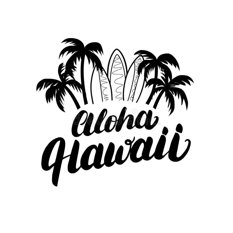 Aloha Hawaii-affiche van de hand de van letters voorziende branding, T-stukdruk stock illustratie