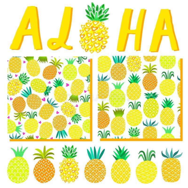 Aloha Hawaii-de zomerachtergrond De illustratiemalplaatje van de strandpartij, patroon, die voor uitnodigingskaart van letters vo stock illustratie