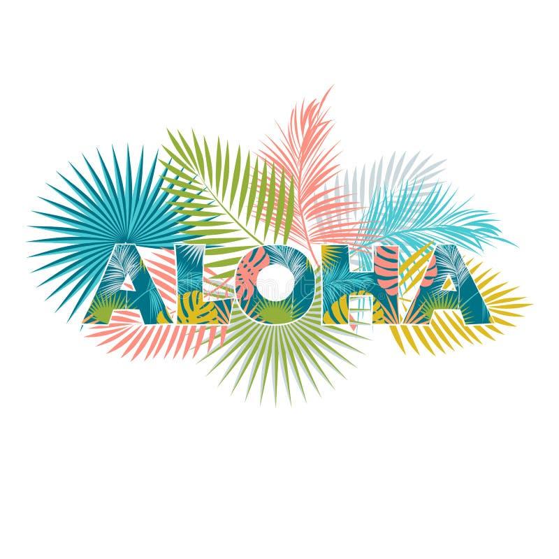 Aloha Hawaii Diseño de la camiseta de la hawaiana ilustración del vector