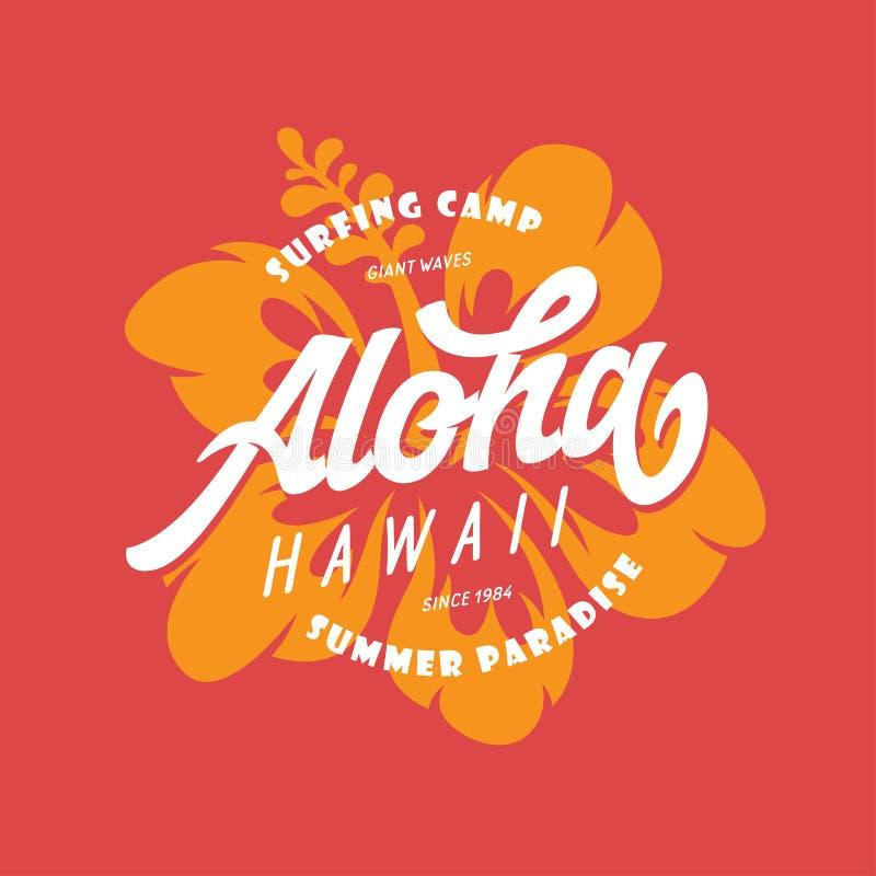 Aloha Hawaii koszulki kwiecisty druk Wektorowa rocznik ilustracja ilustracja wektor