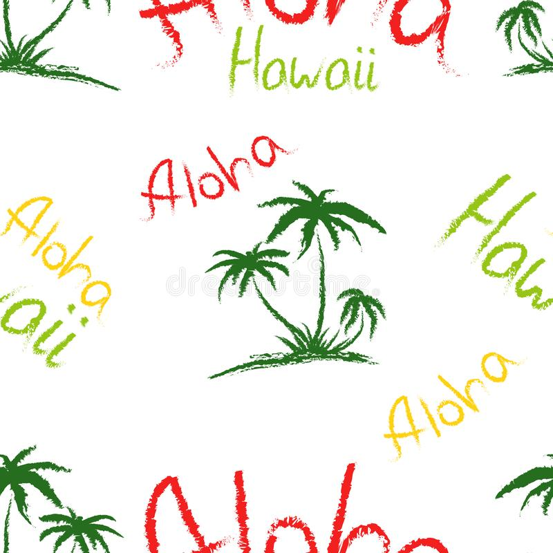 Aloha Hawaii quote t-shirt print and hand-drawing illustration. Seamless pattern with palm trees related trendy t-shirt apparel royalty free illustration