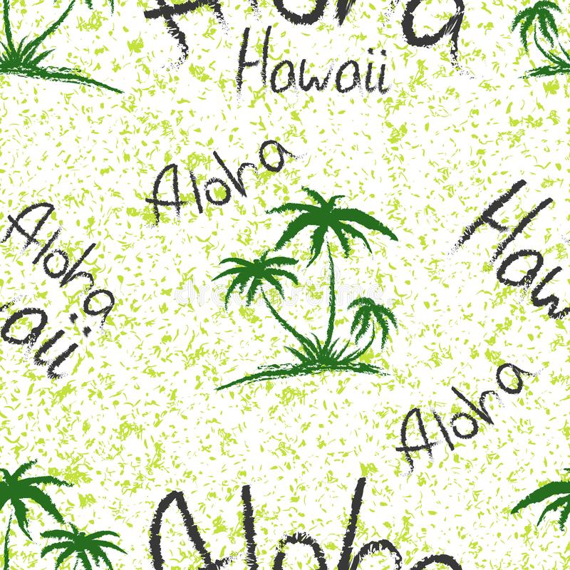 Aloha Hawaii quote t-shirt print and hand-drawing illustration. Seamless pattern with palm trees related trendy t-shirt apparel vector illustration