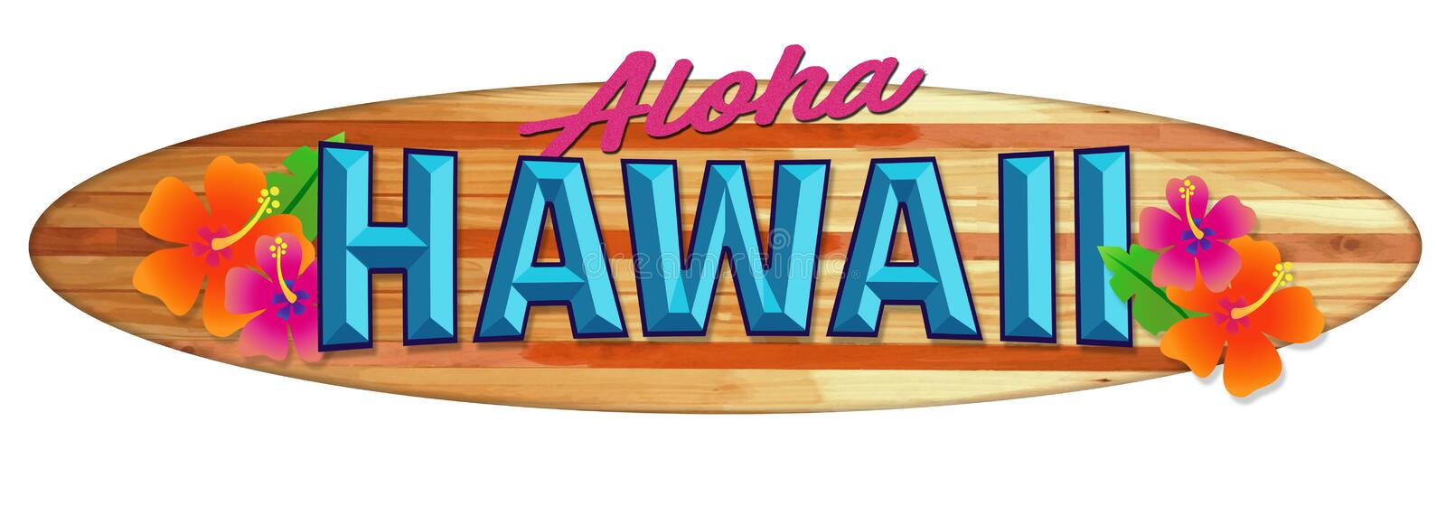 Aloha Hawaii Surfboard Sign. Longboard Wood Hawaii Vintage Retro colorful flowers tropical vacation travel stock illustration