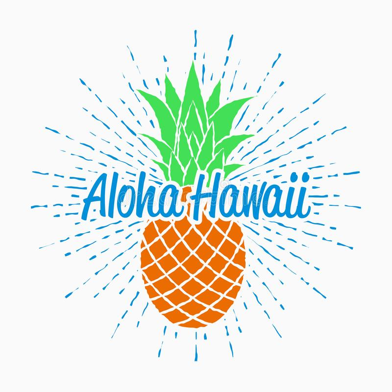 Aloha Hawaii typography graphics for t-shirt with pineapple and sunburst. Vintage design for summer clothes. Vector. vector illustration