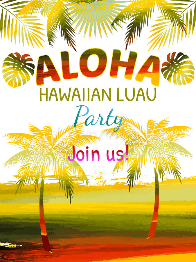 aloha  hawaiian party template invitation stock vector