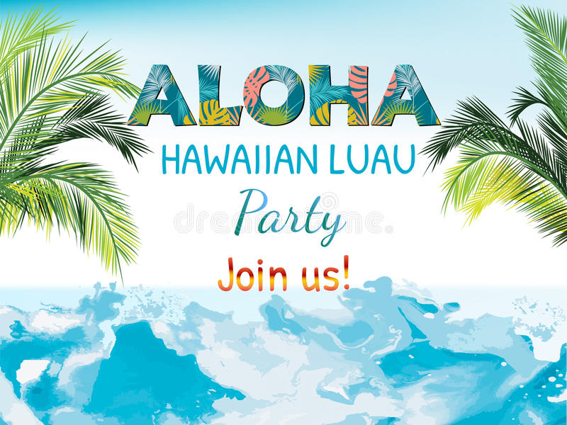 Aloha, Hawaiian Party Template Invitation royalty free illustration