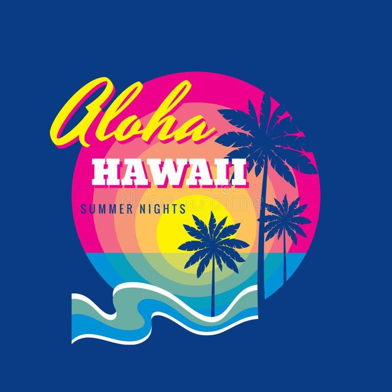 Aloha Hawaje lato - odznaki wektorowy ilustracyjny pojęcie w rocznik grafiki retro stylu dla koszulki i inny druki Palmy ilustracji