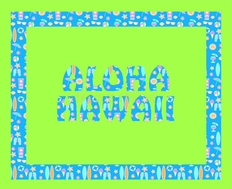 Aloha Hawaje literowanie na zielonym backround Wektorowi tropikalni listy z kolorowymi plażowymi ikonami na bławym backround ilustracji
