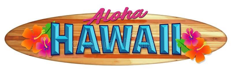 Aloha Hawaje Surfboard znak ilustracji