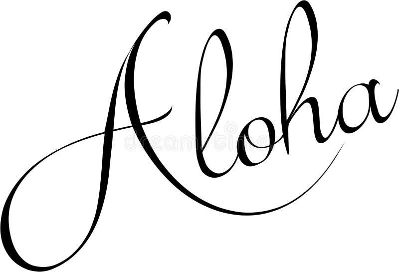 Aloha ilustração do sinal do texto ilustração stock
