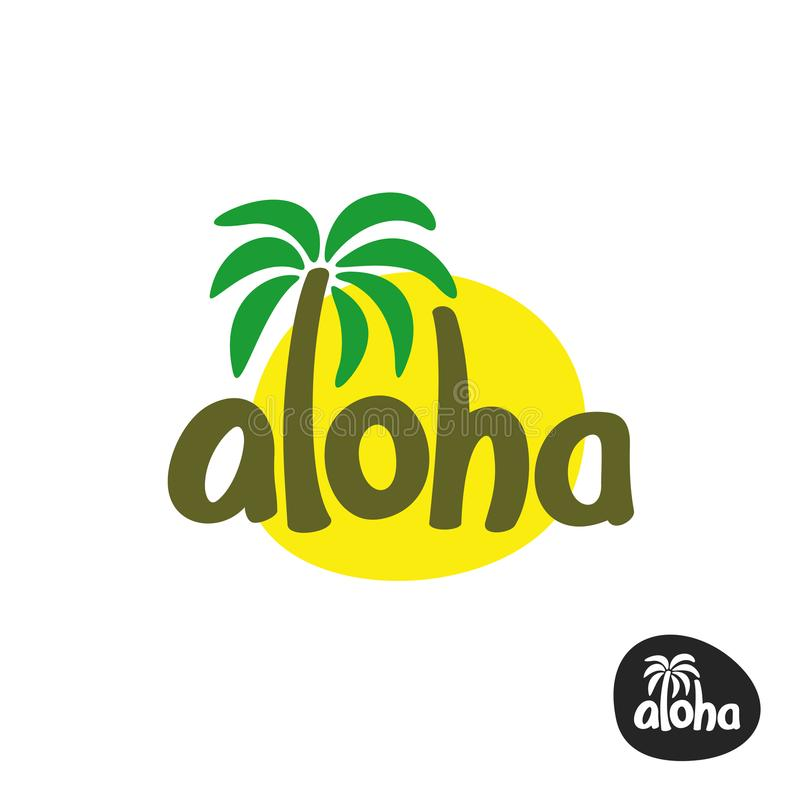 Aloha lettering word logo with palm tree and sun silhouette. Aloha lettering word logo with palm tree and sun silhouette behind vector illustration