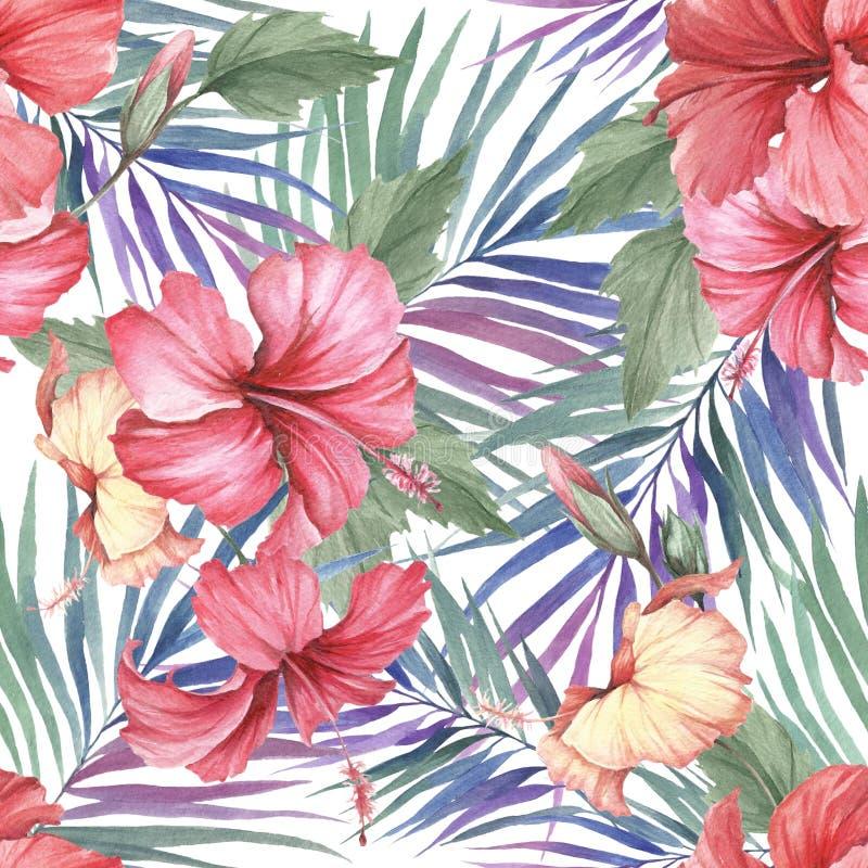 Aloha modelo inconsútil hawaiano Hojas de palma e hibisco Ejemplo de la acuarela del drenaje de la mano stock de ilustración