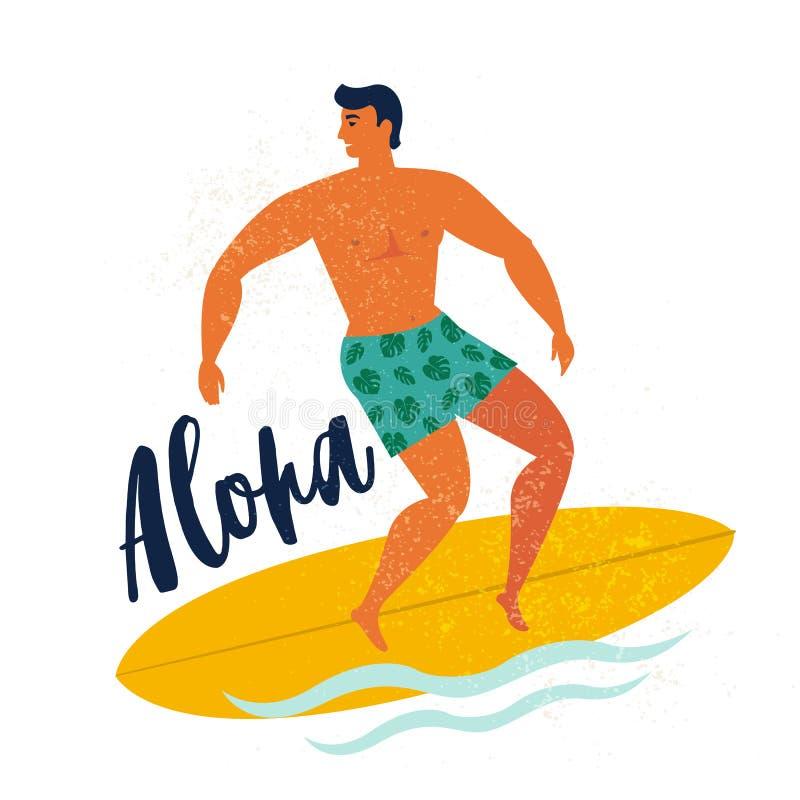 Aloha plakatowy surfingowiec na surfboard łapaniu macha w oceanie Plaża i surfingu projekt dla plakata, koszulki lub kart, ilustracja wektor