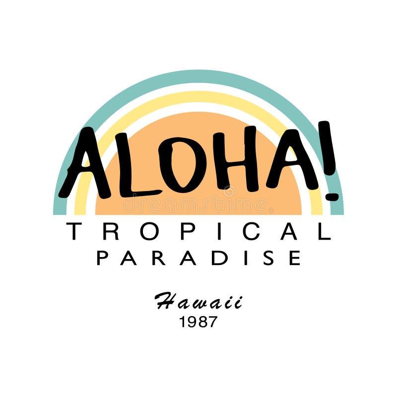 Aloha projeto da cópia do vetor dos gráficos da camisa do verão t ilustração royalty free