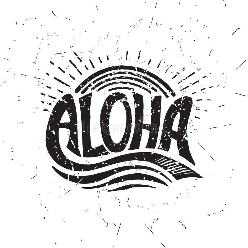 Aloha rotulação surfando Ilustração da caligrafia do vetor ilustração stock