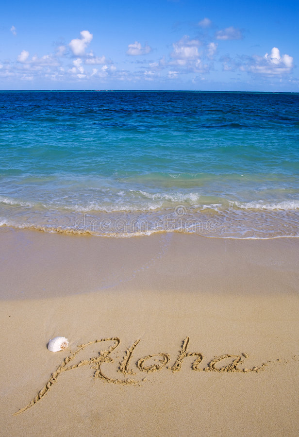 aloha sable écrit photos stock