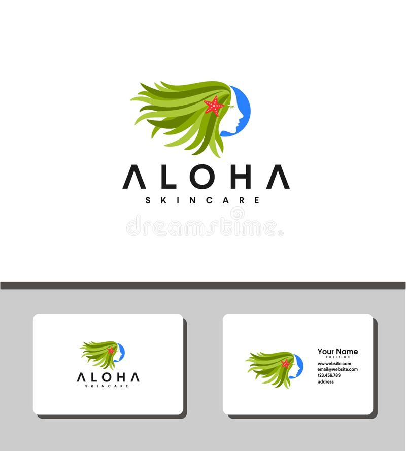 Aloha skin care logo royalty free illustration