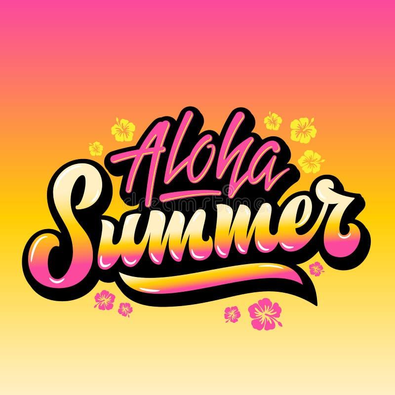 Aloha Summer Abstract Vector Hand-het Van letters voorzien Groet Gard, Teken of Affiche Met de Bloemen van Hawaï en Roze Gele Gra royalty-vrije illustratie