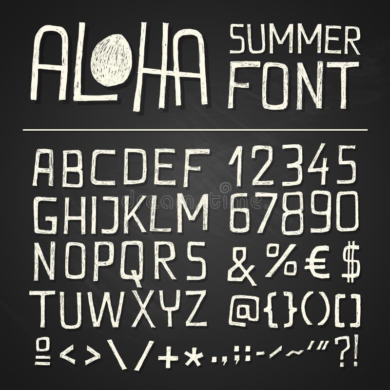 Aloha Summer Hand Drawn Font - chalkboard royalty free stock photos