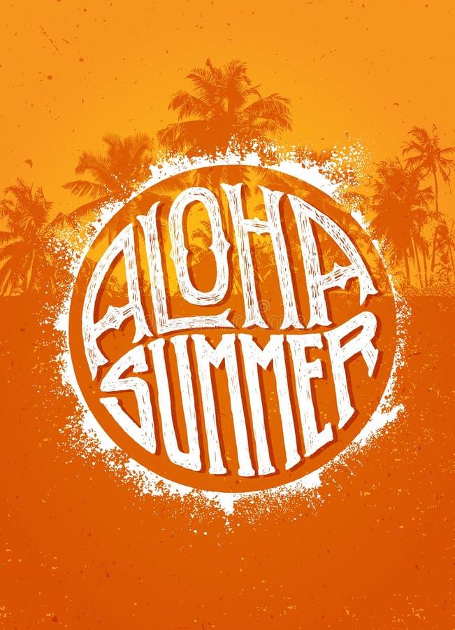 Aloha Summer Party Concepto tropical de la bandera del vector de la playa excepcional en fondo de la palmera ilustración del vector