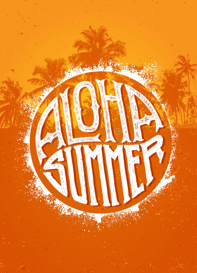 Aloha Summer Party. Outstanding Beach Tropical Vector Banner Concept On Palm Tree Background.  vector illustration