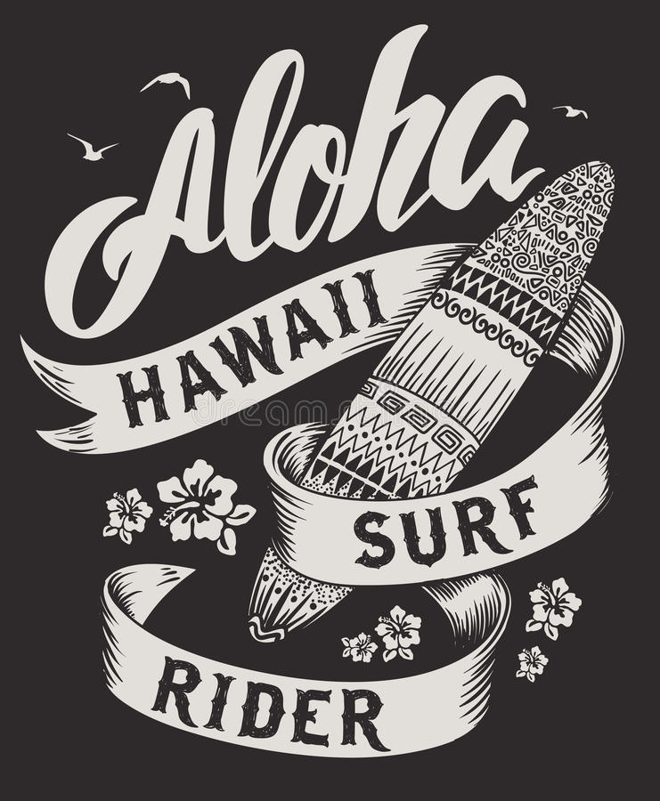 Aloha tipografia con l'illustrazione del surf per l'illustrazione di vettore della stampa della maglietta illustrazione vettoriale