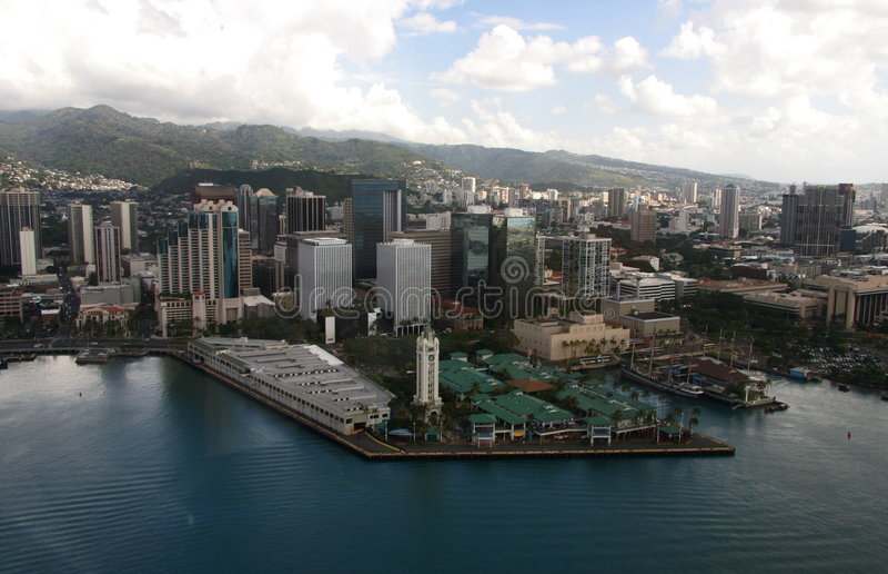 Aloha torretta Vista aereo Oahu immagine stock