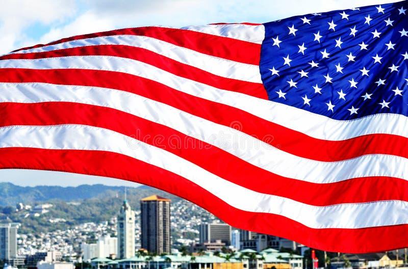 Aloha Tower com bandeira americana fotos de stock royalty free