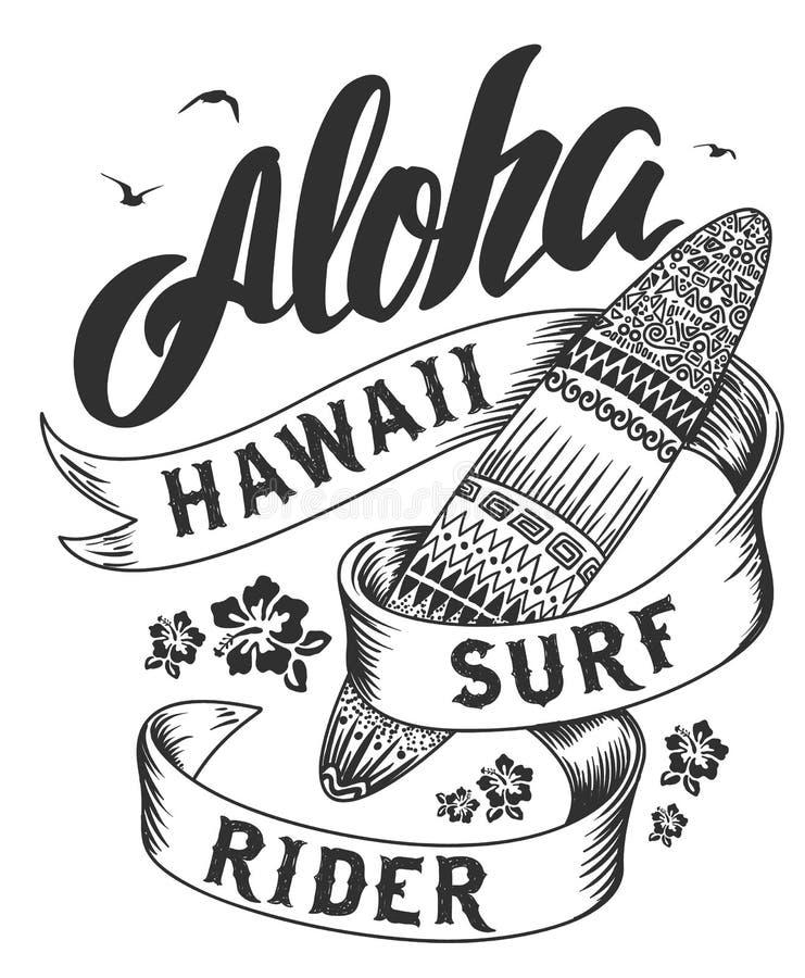 Aloha typographie avec l'illustration de planche de surf pour l'illustration de vecteur d'impression de T-shirt illustration stock