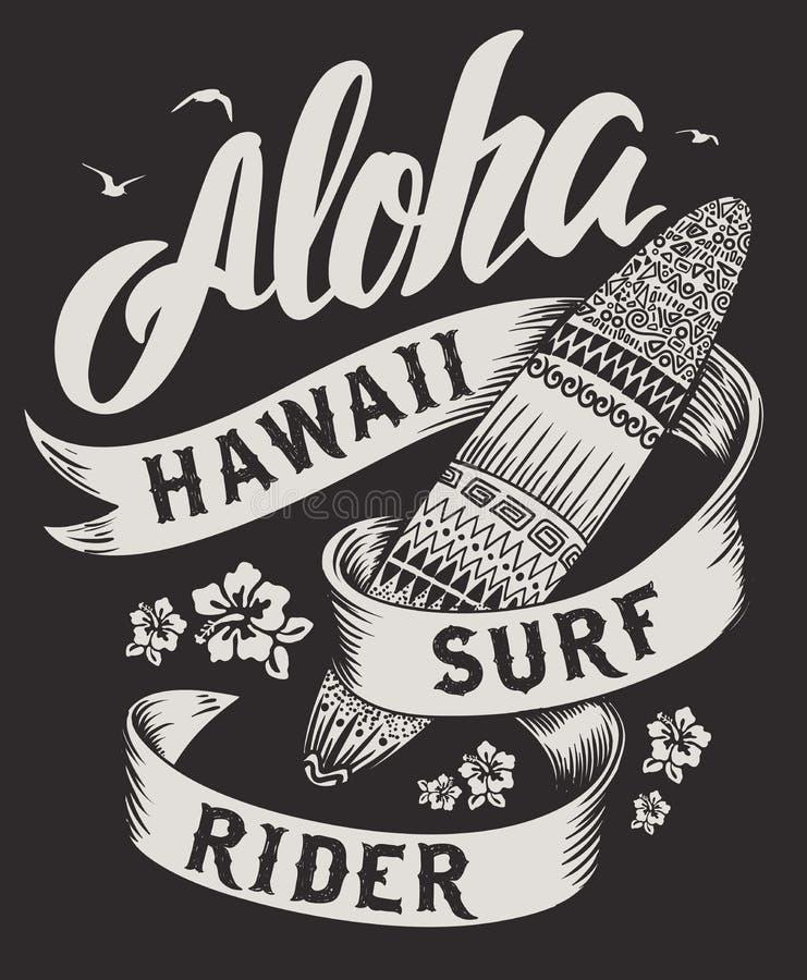 Aloha typographie avec l'illustration de planche de surf pour l'illustration de vecteur d'impression de T-shirt illustration de vecteur
