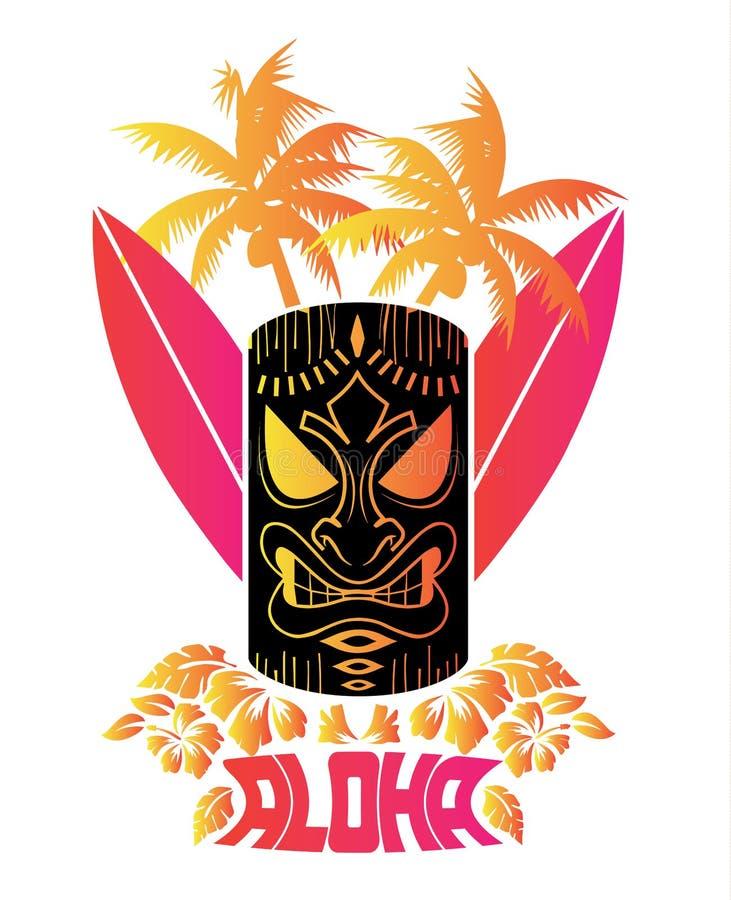 Aloha Vector illustration av tikimaskeringen med bränningbräden och hawaiiboväxter och tropiska blommor royaltyfri illustrationer