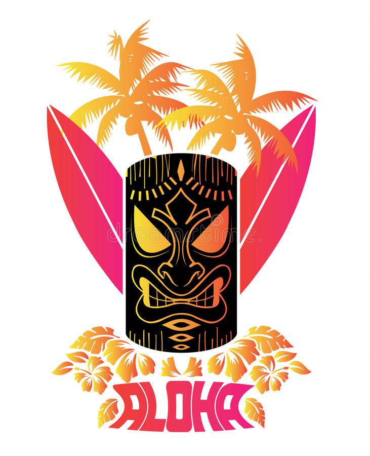 Aloha Vector illustration of tiki mask with surf boards and Hawaiian Plants and Tropical Flowers stock photos