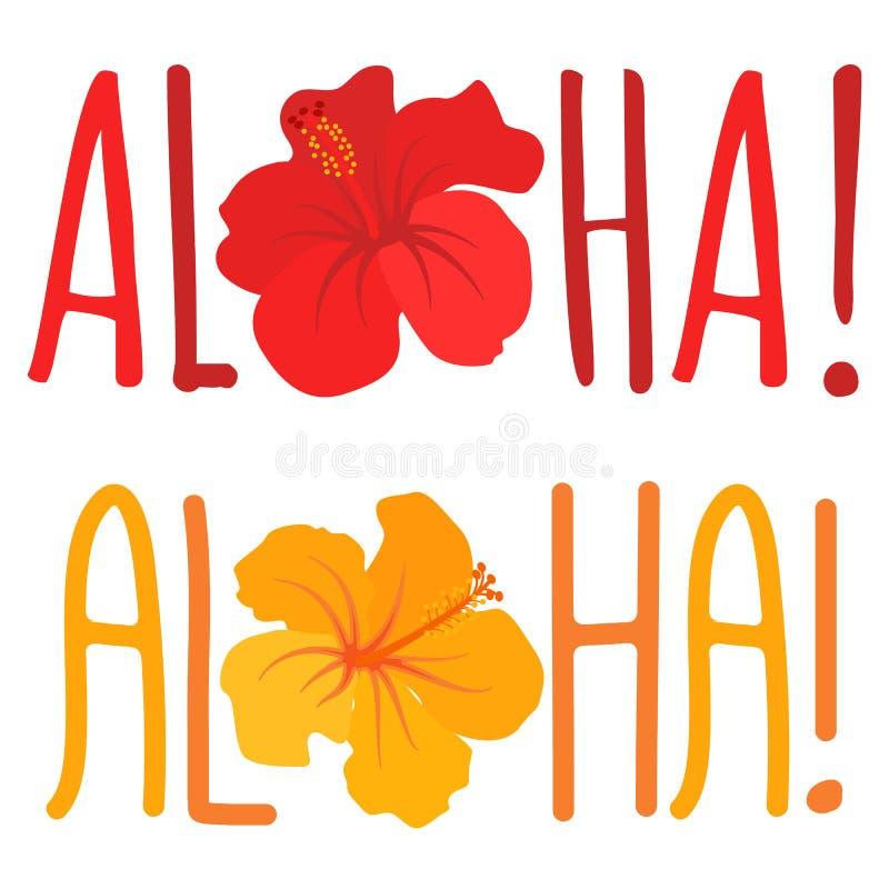 Aloha Vector Lettering con la flor stock de ilustración