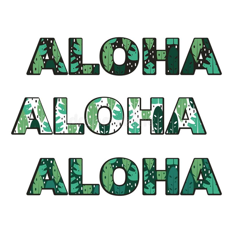 Aloha vetor do texto ajustado com as folhas exóticas tropicais ilustração do vetor