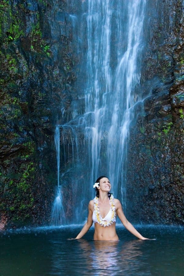 Download Aloha waterfall lei woman stock photo. Image of beautiful - 10743148