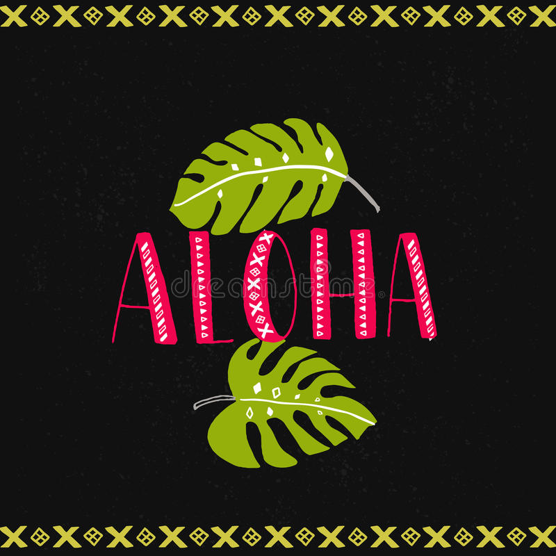 Aloha word with tropical leaves at dark background. Hawaiian vector design. stock illustration