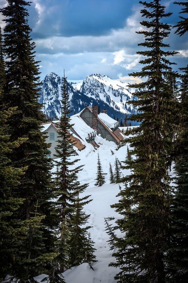 Alojamento nevado de Burined Parque nacional mais chuvoso do Mt foto de stock