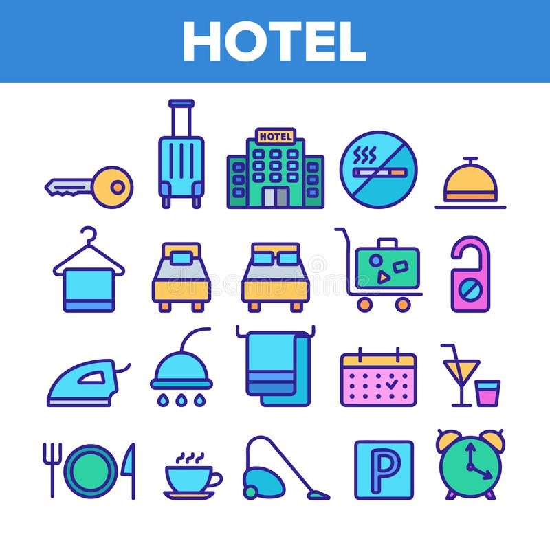 Alojamiento de hotel, sistema linear de los iconos del vector de las amenidades del sitio libre illustration