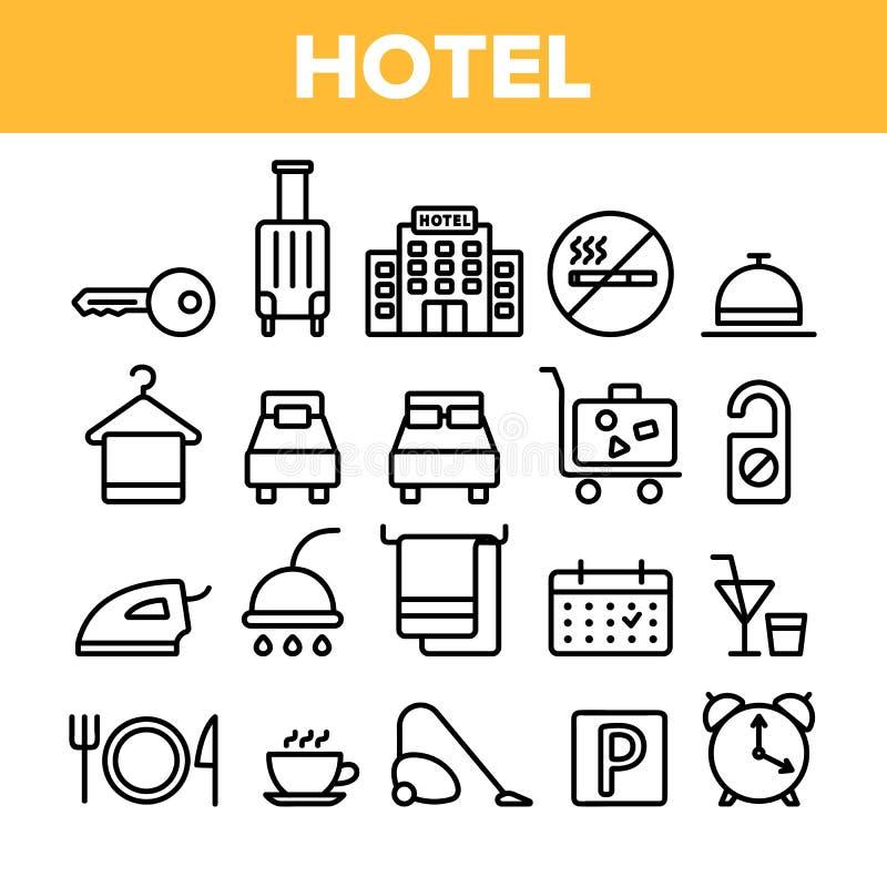 Alojamiento de hotel, sistema linear de los iconos del vector de las amenidades del sitio ilustración del vector