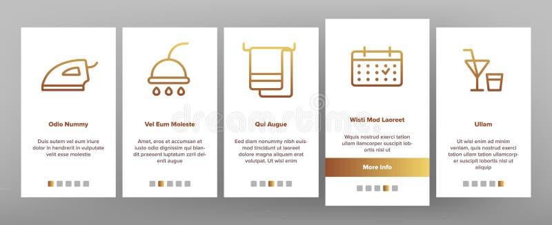 Alojamiento de hotel, vector Onboarding de las amenidades del sitio libre illustration