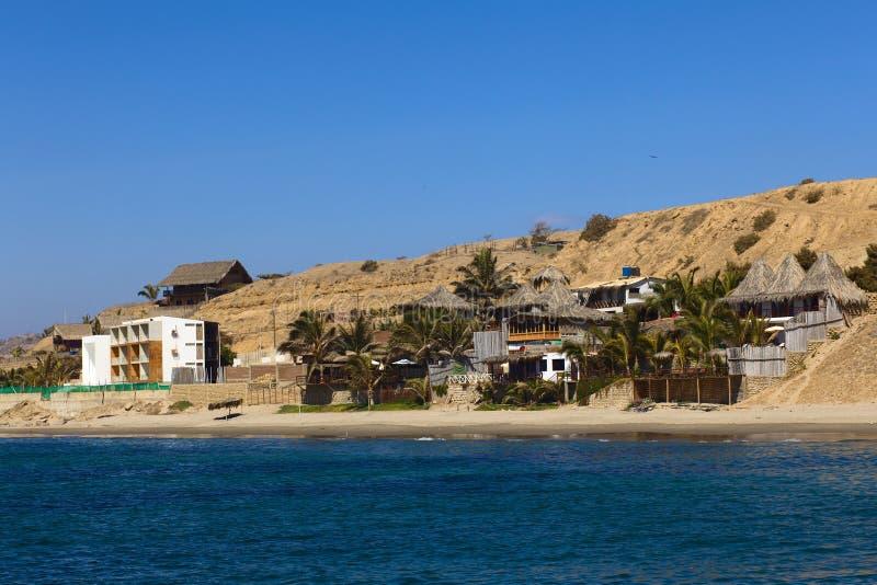 Alojamiento en la playa en Mancora, Perú fotos de archivo libres de regalías