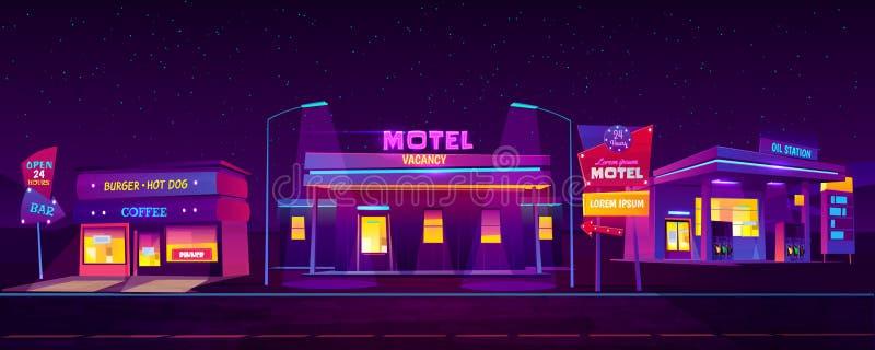 Alojamiento turístico del motel del borde de la carretera en la noche ilustración del vector