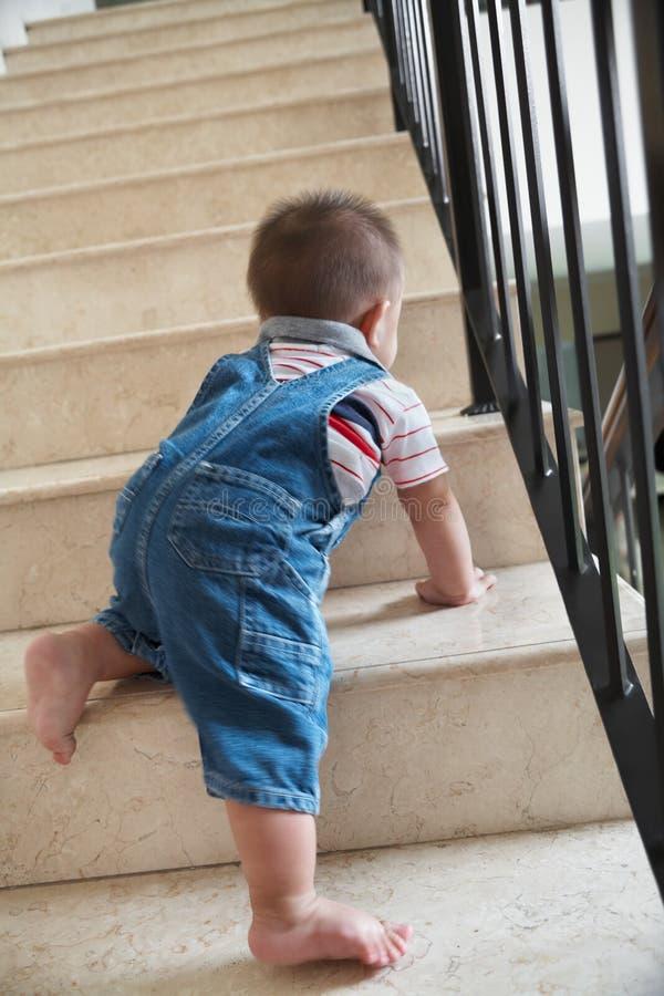 Alon de rampement de chéri sur des escaliers image stock