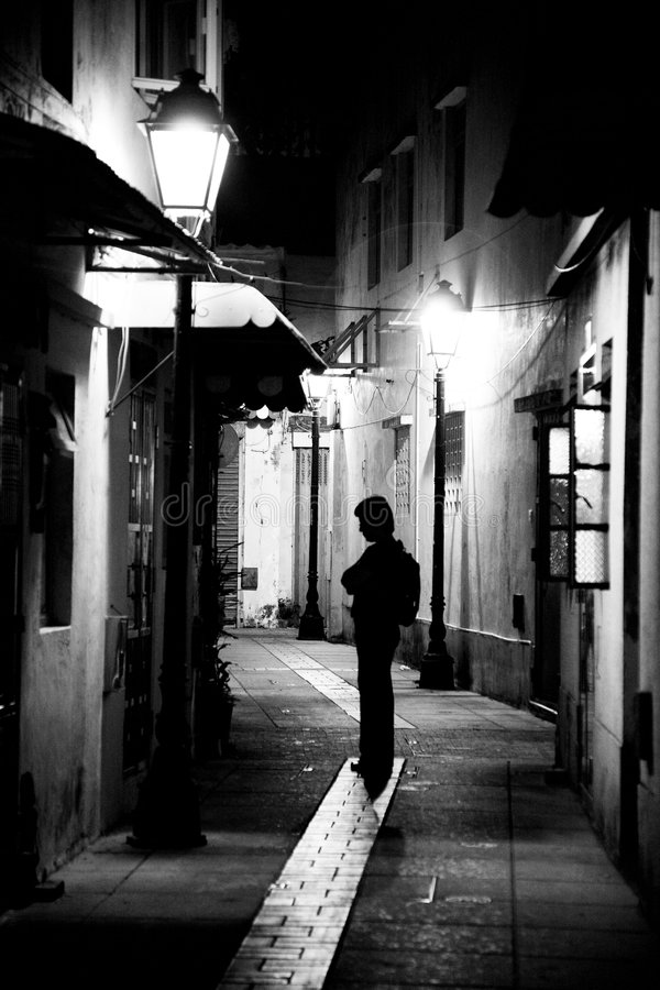 Alone in the alley stock images