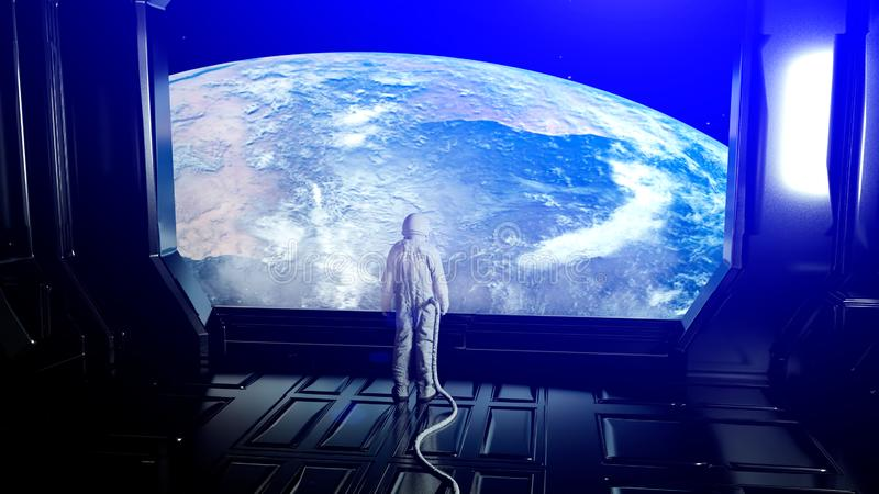 Alone astronaut in futuristic interior. Sci fi room view of the earth. 3d rendering vector illustration