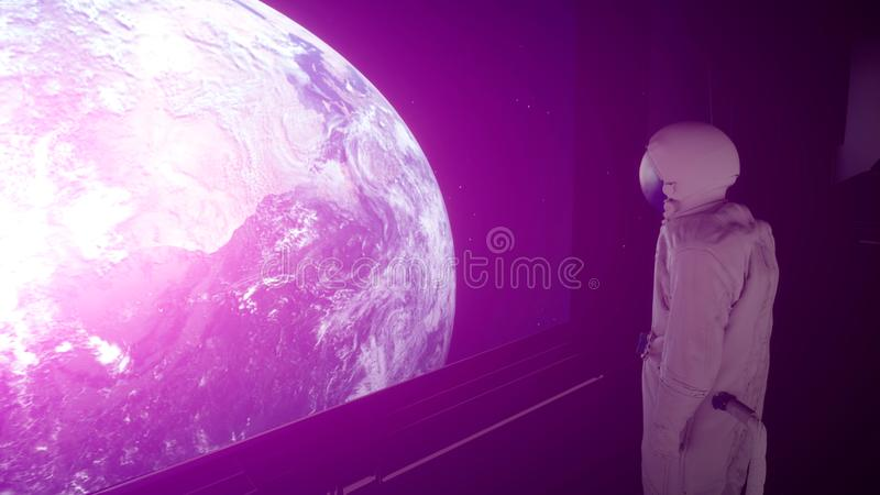 Alone astronaut in futuristic space corridor, room. view of the earth. 3d rendering.  royalty free illustration