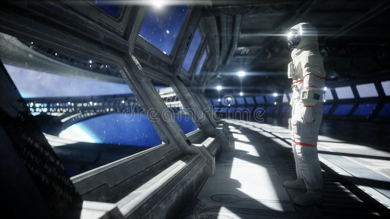 Alone astronaut in futuristic space corridor, room. view of the earth. 3d rendering. stock illustration